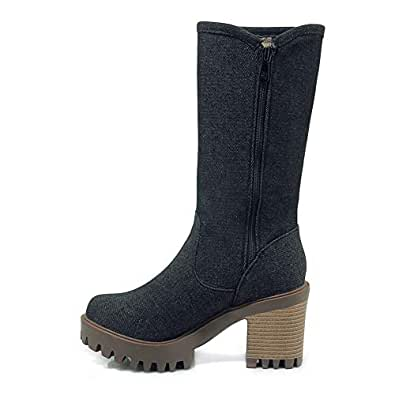 BalaMasa Womens ABS14168 Closed-Toe Business Solid Black Pu Boots - 2.5 UK (Lable:34)