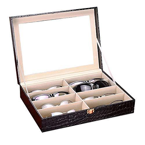 UnionPlus 8 Slot Eyeglass Sunglass Storage Box - Crocodile Faux Leather Glasses Display Case Organizer Collector Box (Black Croco)