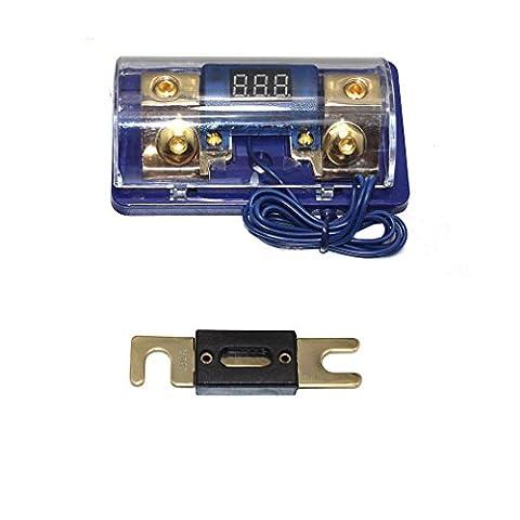 Asdomo Car Stereo Audio Led Display Digital Voltage Blue Base Inline ANL Fuse Holder 0 2 4 Gauge 150 Amp (Car Audio Digital Fuse)