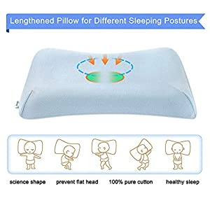 Aloudy Memory Foam Toddler Pillow, Organic Cotton Cover, Breathable Kids Pillow 20 x 11 x 2(2.5) for 2-10 Years Old Children