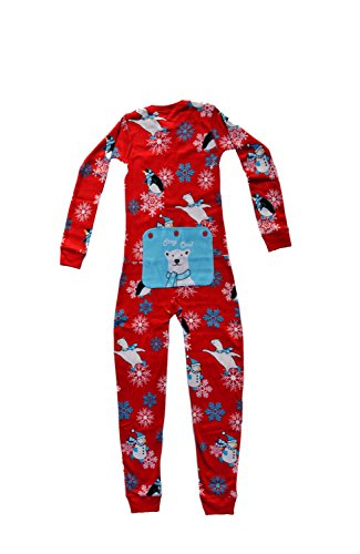 Winter Fun Penguins Union Suit Boys & Girls Onesie Pajamas Stay Cool Polar Rear Flap, Kids 4-12 (6) (Christmas Onesie Girls For)
