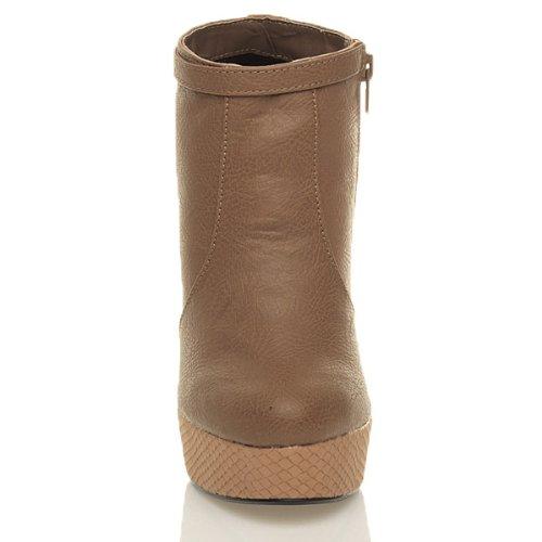 ladies booties boots platform Ajvani heel Tan zip block shoe buckle Womens high ankle size 5PvEqvwSx