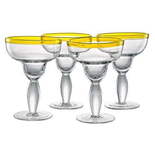 Festival 14 Oz. Margarita Glass (Set of 4) Finish: Sunflower