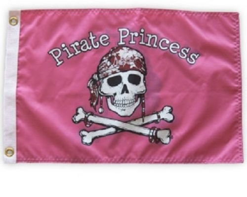 (ALBATROS Pirate Princess 12 in x 18 ftin Pink Nylon Flag Weatherproof Boat Pirate Girl for Home and Parades, Official Party, All Weather Indoors Outdoors)