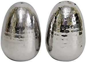 Hammered Egg Shaped Salt and Pepper Shakers by Holister