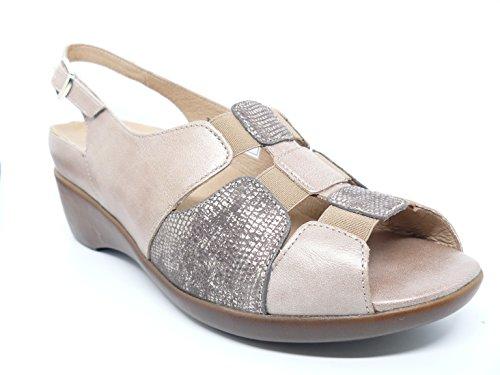 Sandalia ancho especial comoda mujer PieSanto - Plantilla extraible - Piel Vison combi. Serpiente Vison - 8151 - 109A Vison