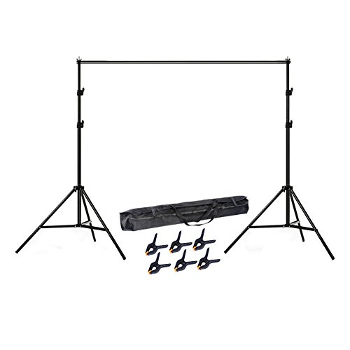 Lightdow 6.5x10' Adjustable Photo Studio Backdrop Stand Background Support Kit with 6 Clamps (Model Number: LD-DP005)