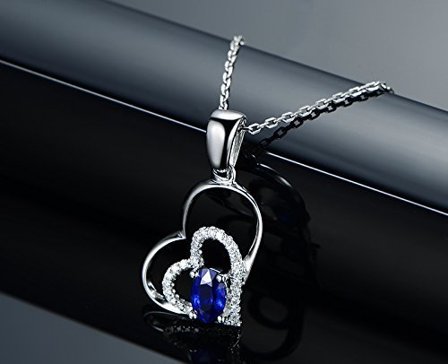 0.63 Ct Diamond (Solid 18k white gold Pendant,0.15ct SI-H Diamond pendant for necklace,0.63ct Oval Natural Blue Sapphire,Pave)