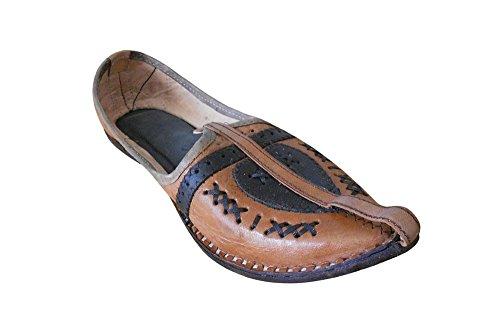 KALRA Creations Herren Traditionelle Leder indischen Casual Schuhe Braun