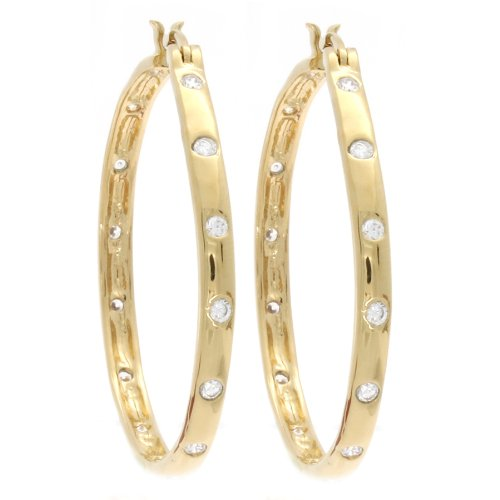 Marco Francisco 14k Gold Overlay Cubic Zirconia Hoop Earrings ()