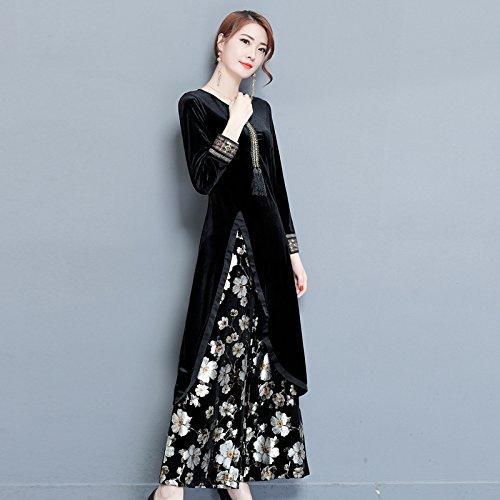 ZHUDJ Señoras _ Cheongsam Vestido Estilo Thin Otoño Pantalones Traje Irregulares black suit
