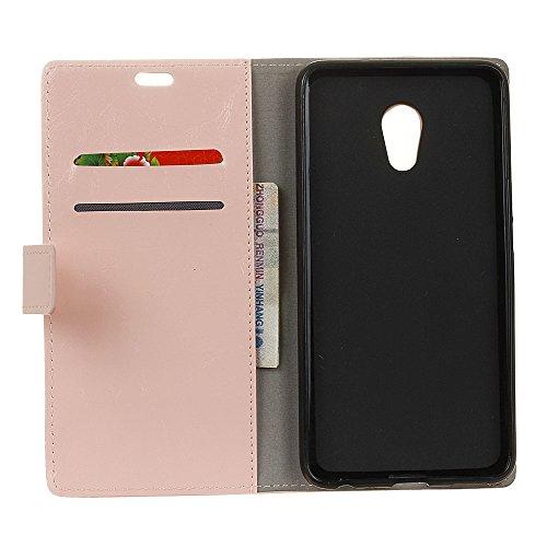 Lusee® PU Caso de cuero sintético Funda para Meizu POP 6 PLUS Cubierta con funda de silicona botón caballo Loco patrón Rosa