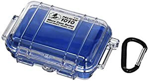 Waterproof Case | Pelican 1010 Micro Case - for cell phone, GoPro, camera, and more (Blue/Clear)