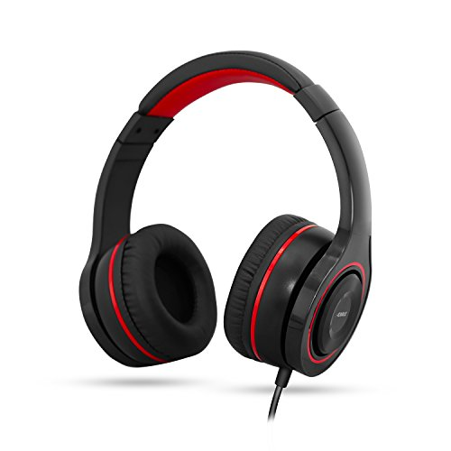 J-EARLE Gaming Headset, 3.5 mm Jack Surround Stereo Wired Over Ear Headphones with Mic Noise Isolating Rotate Volume Control Adjustable Steel Slider for PS4 Xbox One PC Laptop Mac Phone (red/black)