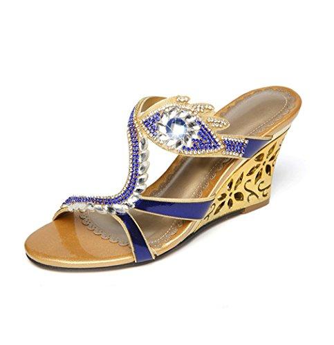 Sweet Fashion Sandals Leather Cut Out Wedding Womens Blue U Heel Wedges Bride MAC Party Rhinestone Low H1qnawIxSX
