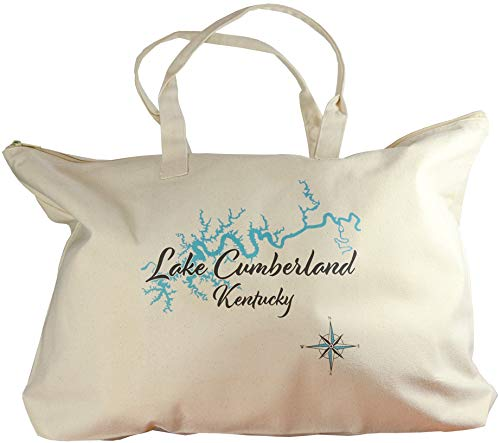 Somerset Tote - Wesserunsett in SOMERSET, ME (1372 LS)- Lake Canvas Tote Bag 17 x 15 IN - Nautical chart and topographic depth map.