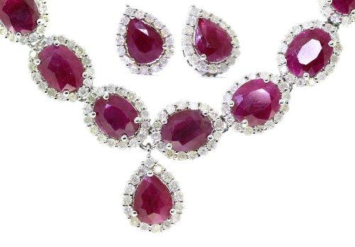 37.75ct &&Rubis-Diamant-Boucles d'oreilles en or 14 carats