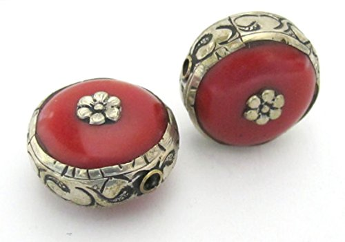 Round Coin disc shape reversible Tibetan silver encased tibetan coral bead - 1 bead - BD545