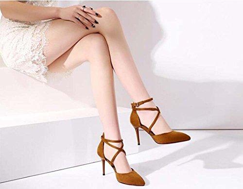 Amarillo Acentuado Zapatos del pie Las Tamaño Altos 39 Zapatos pie Dedo Amarillos con Finos de Tacones 34 Negros de Cordones Mujeres del Verdes CfBXwCxq