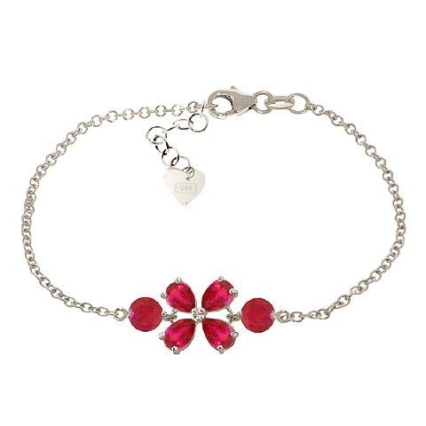 QP bijoutier de rubis naturels Bracelet en or blanc 9 carats - 5066W 3.15ct coupe poire