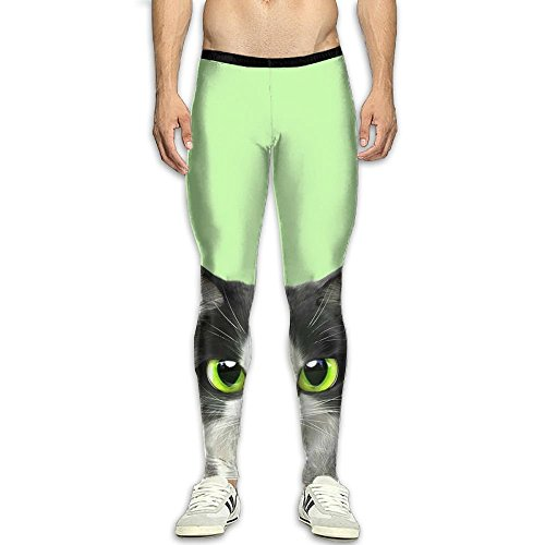 Men's Compression Pants Green Cute Cat 3D Print Baselayer Cool Dry Sports Thermal Tights Leggings Running Fitness ()