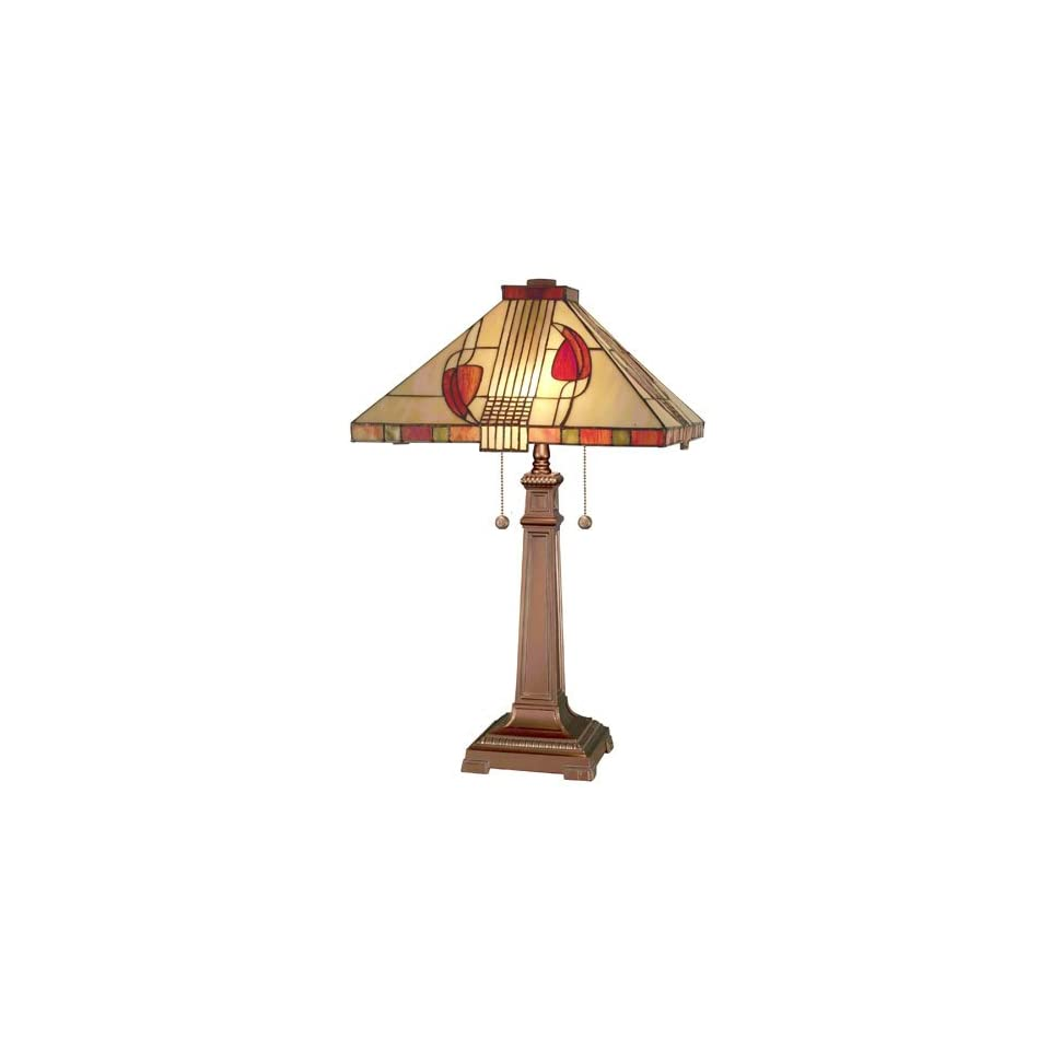 Dale Tiffany 2721/739 Henderson Table Lamp, Antique Bronze and Art Glass Shade