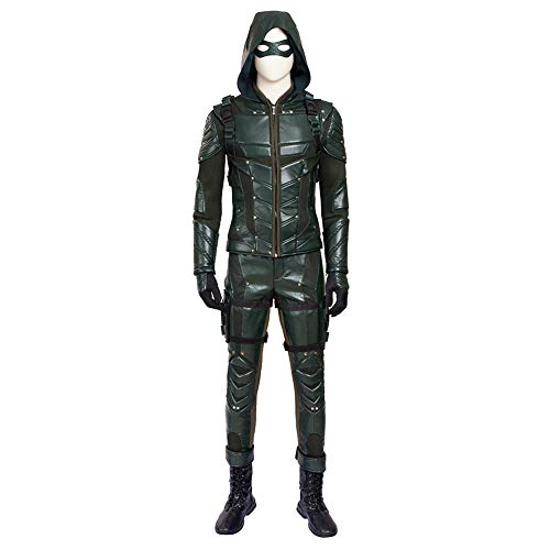 COMShow Arrow Green Costume Full Set with Accessories Oliver Queen Faux Leather Mens Archer Costume -