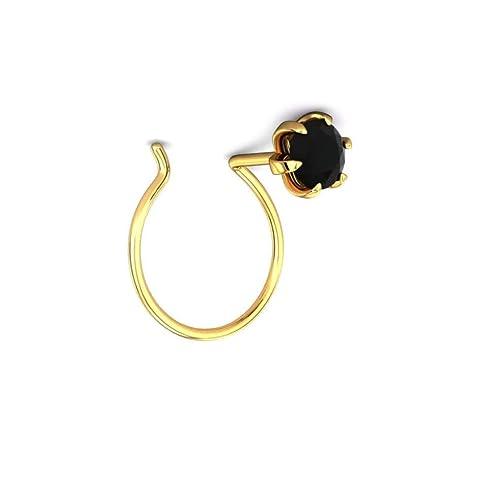 Amazon Com 14k Gold 18k Gold Nose Ring Black Stone Piercing Nose Pin Women Jewelry Customize Rose Yellow Or White Gold Handmade