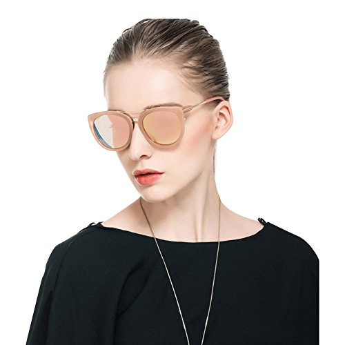 SPEEDM Polarized Cat Eye Mirrored Sunglasses With Metal Frame For Women sunglasses (Black, Black) (Pink(p0832), - Face Best For Small Oval Sunglasses