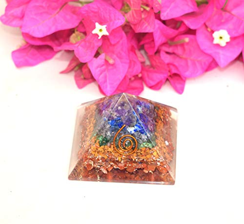 Orgone Energy Generator Pyramid | Natural 7 Chakra Orgonite Pyramid | Emf Protection | Reiki Healing Home Office Gift Wellness Gemstone Prosperity Health Chakra Balancing (Generator Price In India For Home Use)