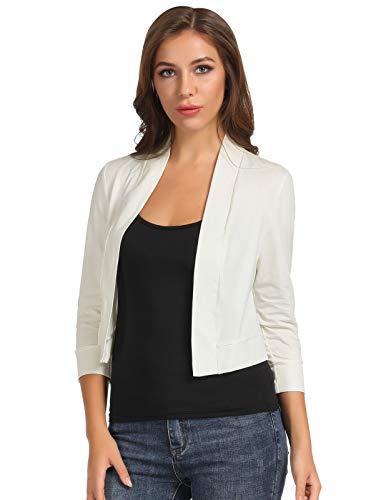 Trendy Splicing Lace Bolero Jacket Slim Fit Office Wear(Ivory,L)