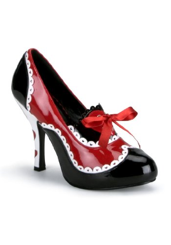 Funtasma by Pleaser Women's Queen-03/B women's costume shoes,Black/Red/White Patent,9 M US (Toddler Queen Of Hearts Halloween Costume)