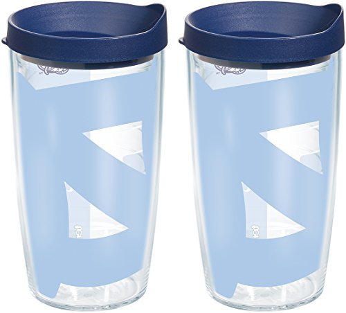 Tervis 1093196 North Carolina Tar Heels Colossal Tumbler with Wrap and Navy Lid 2 Pack 16oz, Clear