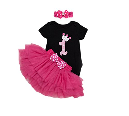 ' 3PCs Pink 1st Birthday Onesie Tutu Skirt Headband Outfits (12M(9-12months), Black) ()