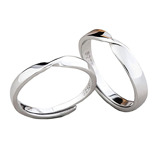 Tidoo Jewelry 925 Sterling Silver Simple Couples Rings Turn Around - Couples Ring Silver