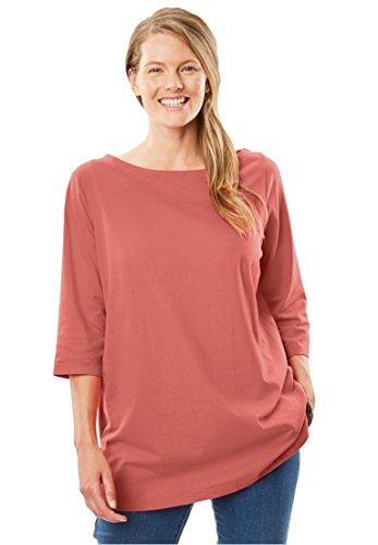 Sleeve Boatneck (Woman Within Women's Plus Size Perfect Boatneck Tee Dusty Coral,2X)
