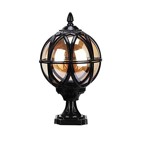 Modenny IP54 Waterproof Outdoor Spherical Pillar Lamp Vintage Wall Post Light Retro Garden Landscape Spotlight Lanterns E27 Aluminium Villa Fence Terrace Community Lighting (Size : Height: 32.5cm)