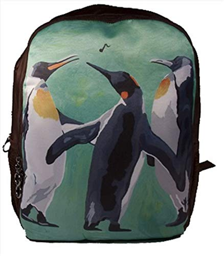Wildlife Trio - Animal Backpack Bookbag School - Support Wildlife Conservation, Read How, From My Original Paintings (Penguins - The Trio)