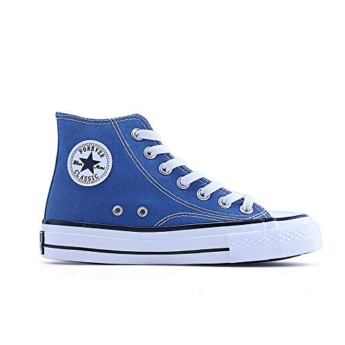 - Classic Canvas Shoes for Men and Women high-top Flat Straps Students Wild Tide, smog Blue, 40