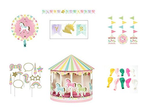 Birthday Party Supplies Pack, Banner, Balloons, Centerpiece, Hanging Cut-Outs, Photo Props, Carousel Themed Birthday Party Decorations, 6-Piece Bundle