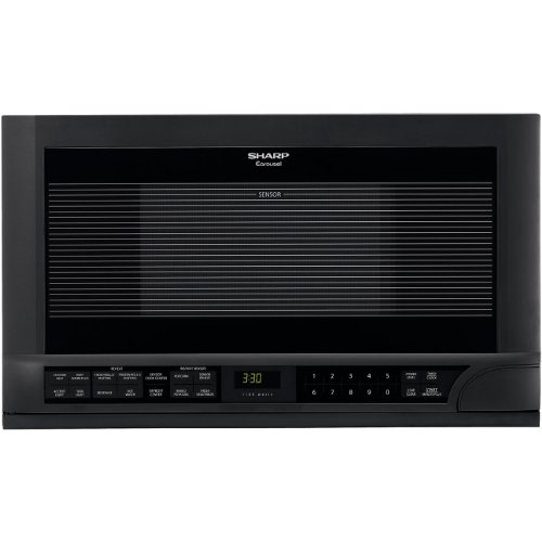 Sharp R-1210 1-1/2-Cubic-Foot 1100-Watt Over-the-Counter Microwave, Black by Sharp