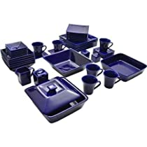 10 Strawberry Street Nova Square Banquet 45-Piece Dinnerware Cobalt Color Set