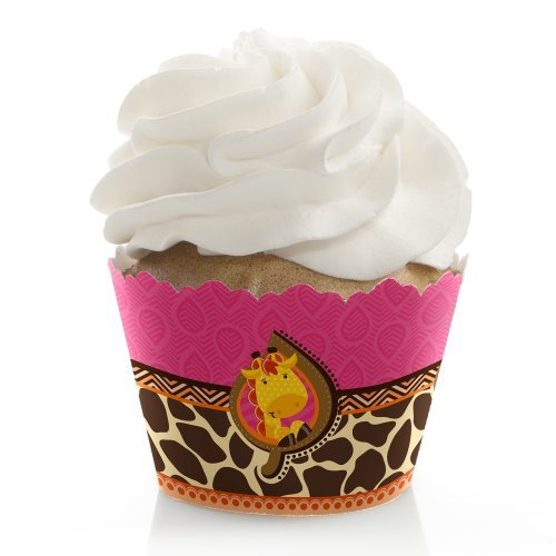 Giraffe Girl - Baby Shower or Birthday Party Decorations - Party Cupcake Wrappers - Set of 12