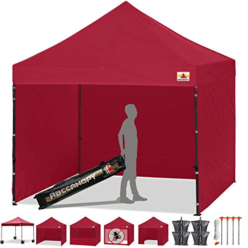 ABCCANOPY Canopy Tent Popup Canopy 10x10 Pop Up Canopies Commercial Tents Market stall with 6 Removable Sidewalls and Roller Bag Bonus 4 Weight Bags and 10ft Screen Netting and Half Wall, Burgundy