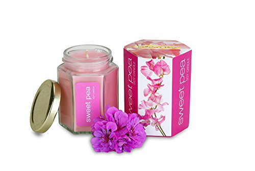 Sweet Pea Soy Candle In Glass Jar | Long Lasting | Best for Spa, Home, Aromatherapy, Gifts | Indoor & Outdoor Use | Weddings, Party, Meditation | Kitchen & Bath ()