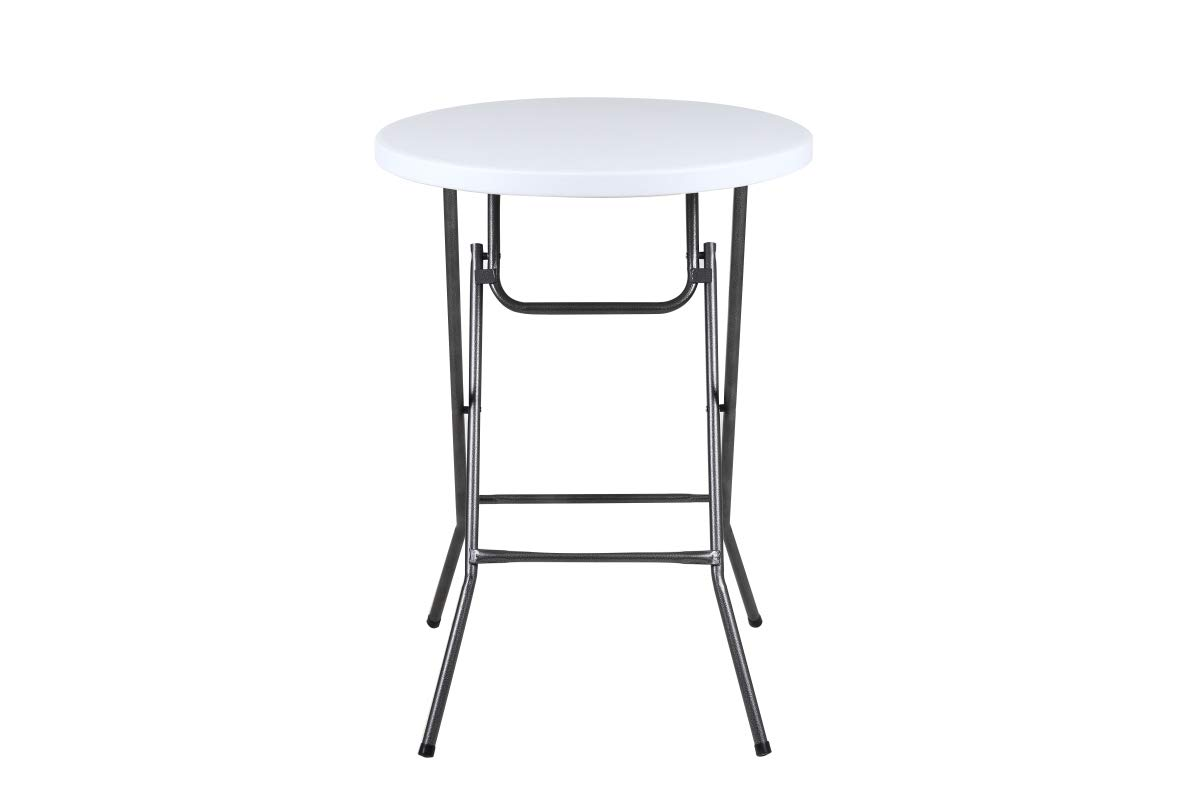 Phoenix Home Granite Round Plastic Bar Height Folding Table, 32 , White