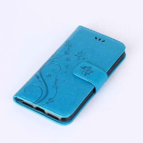 iPhone 7 Case, Urvoix Card Holder Stand Smooth Hand Feel PU Leather Wallet Case – Embossed Flower Butterfly Flip Cover For 4.7 Version Iphone7 (Not for 7PLUS) Blue