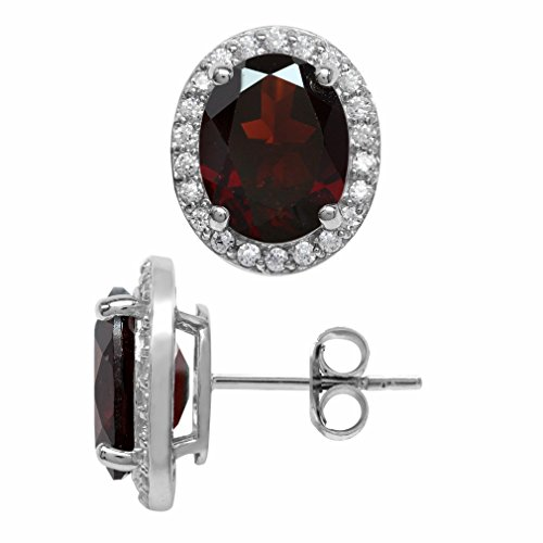 (5.62ct. Natural Oval Shape Garnet White Gold Plated 925 Sterling Silver Halo Stud Earrings)