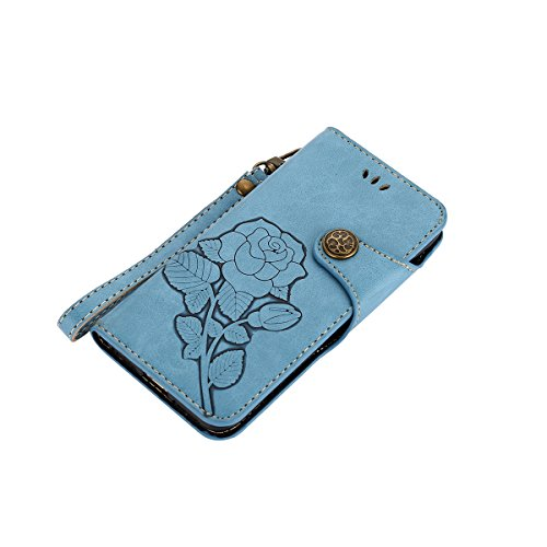 iPhone 8 Plus Hülle,iPhone 7 Plus Hülle,JAWSEU Lanyard Schutzhülle für iPhone 7 Plus/8 Plus,Elegante Retro Handyhülle Leder Tasche Flip Cover Wallet Case Prägung Floral Rose Blumen Strap Muster PU Led Blau