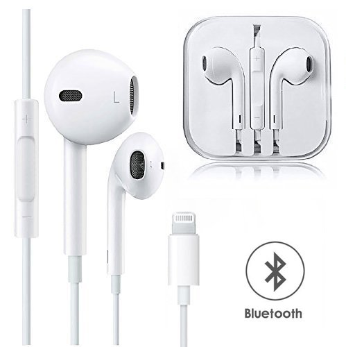 Lightning Earphones (Bluetooth Connectivity),NCLINGLU Headphones with Microphone Earbuds Stereo Headphones and Noise Isolating Headset Made Compatible Phone 7/7Plus/8/8Plus/X - White